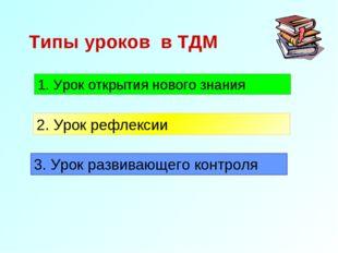 Типы уроков в ТДМ 1. Урок открытия нового знания 2. Урок рефлексии 3. Урок ра