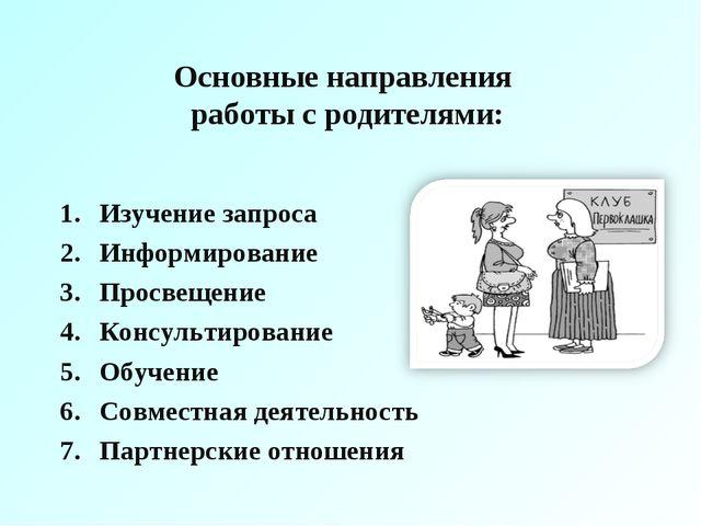 Основные направления работы с родителями: Изучение запроса Информирование Про...