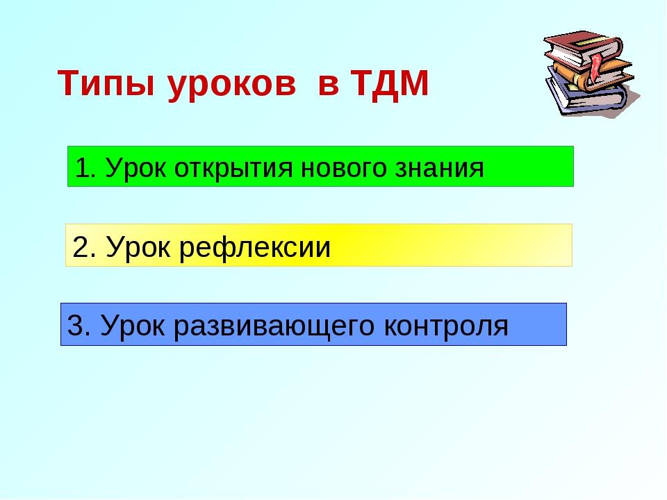 Типы уроков в ТДМ 1. Урок открытия нового знания 2. Урок рефлексии 3. Урок ра...