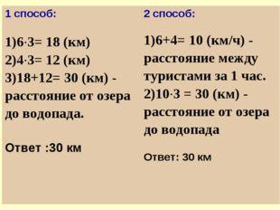 1 способ: 1)6·3= 18 (км) 2)4·3= 12 (км) 3)18+12= 30 (км) - расстояние от озер