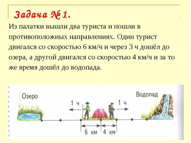 * Из палатки вышли два туриста и пошли в противоположных направлениях. Один т...