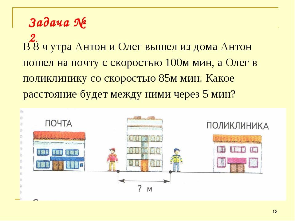 * Задача № 2. В 8 ч утра Антон и Олег вышел из дома Антон пошел на почту с ск...