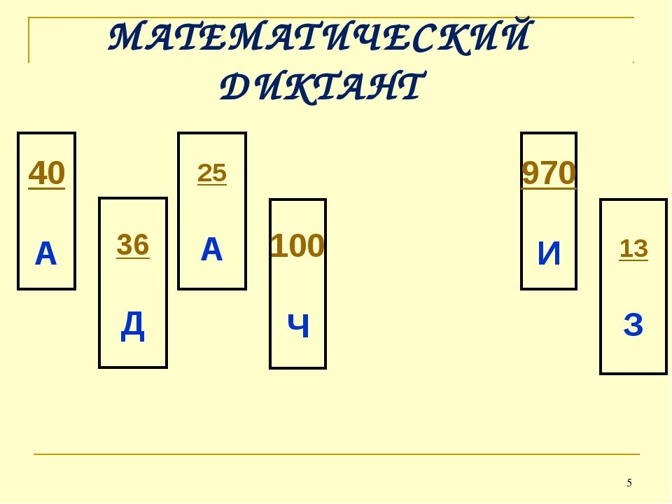 * МАТЕМАТИЧЕСКИЙ ДИКТАНТ 40 А 36 Д 25 А 100 Ч 970 И 13 З