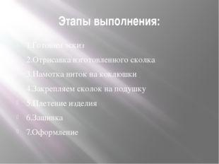 Этапы выполнения: 1.Готовим эскиз 2.Отрисавка изготовленного сколка 3.Намотка