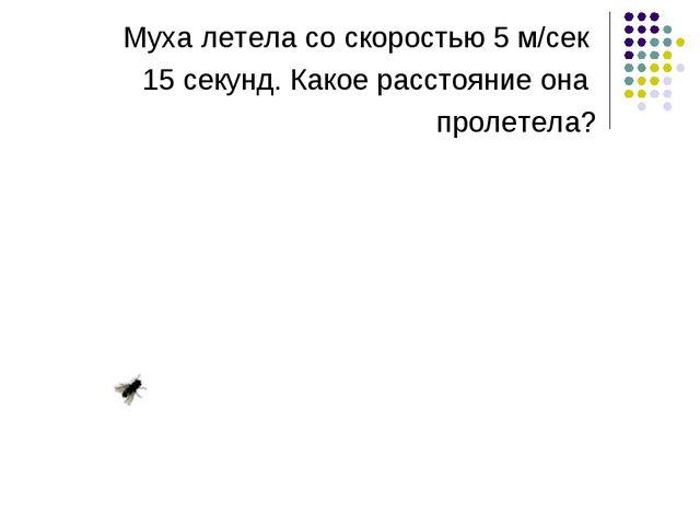 Муха летела со скоростью 5 м/сек 15 секунд. Какое расстояние она пролетела?
