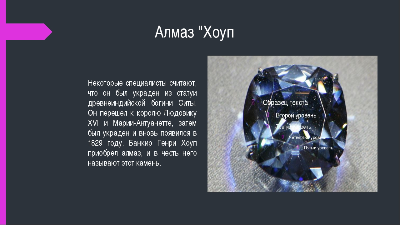 """Алмаз """"Хоуп Некоторые специалисты считают, что он был украден из статуи древ..."""