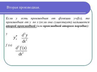 Вторая производная. Если y′ есть производная от функции y=f(x), то производна