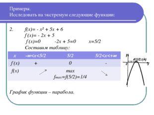2. f(x)= - x² + 5x + 6 f′(x)= - 2x + 5  f′(x)=0 -2x + 5=0 x=5/2 Составим