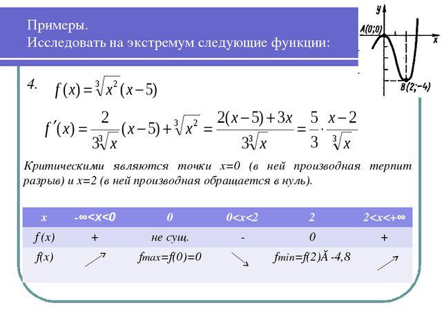 Примеры. Исследовать на экстремум следующие функции: 4.  Критическими являют...