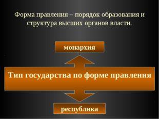 Форма правления – порядок образования и структура высших органов власти. Тип