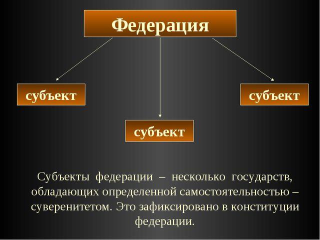 Федерация субъект субъект субъект Субъекты федерации – несколько государств,...