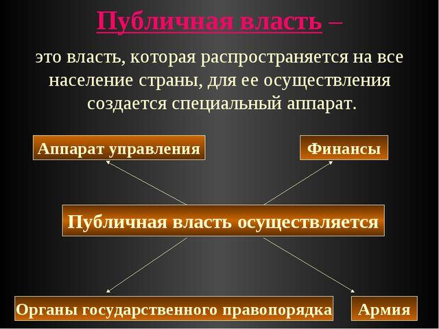 Публичная власть – Публичная власть осуществляется Армия Финансы Органы госуд...