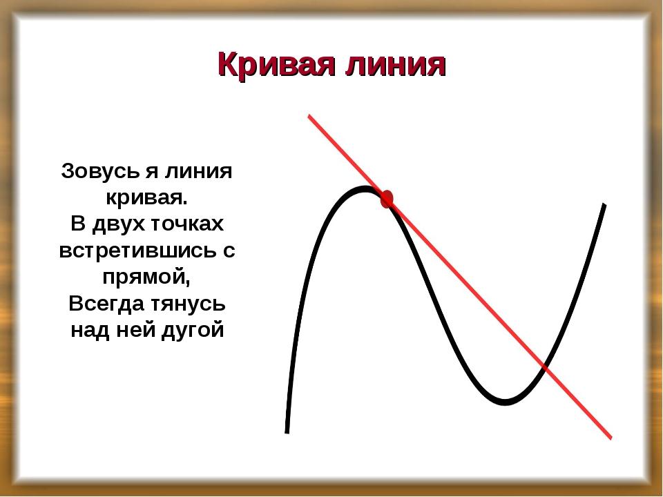 Кривая линия Зовусь я линия кривая. В двух точках встретившись с прямой, Всег...