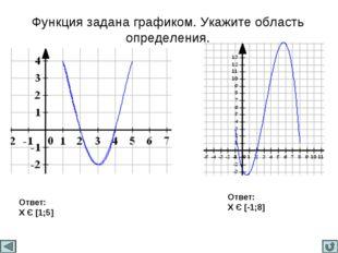 Функция задана графиком. Укажите область определения. Ответ: X Є [1;5] Ответ: