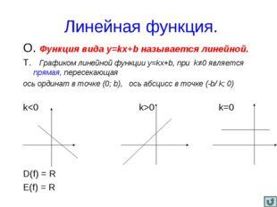 Линейная функция. О. Функция вида y=kx+b называется линейной. Т. Графиком ли