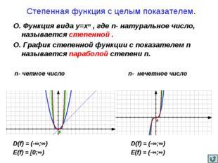 Степенная функция с целым показателем. О. Функция вида у=хⁿ , где n- натурал