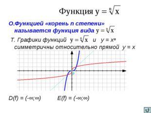 О.Функцией «корень n степени» называется функция вида Т. Графики функций и у