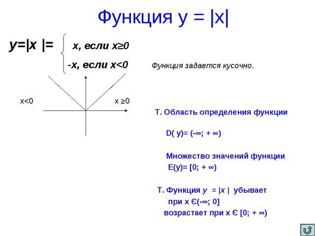 Функция у =  х  у= х  = х, если х≥0 -х, если х