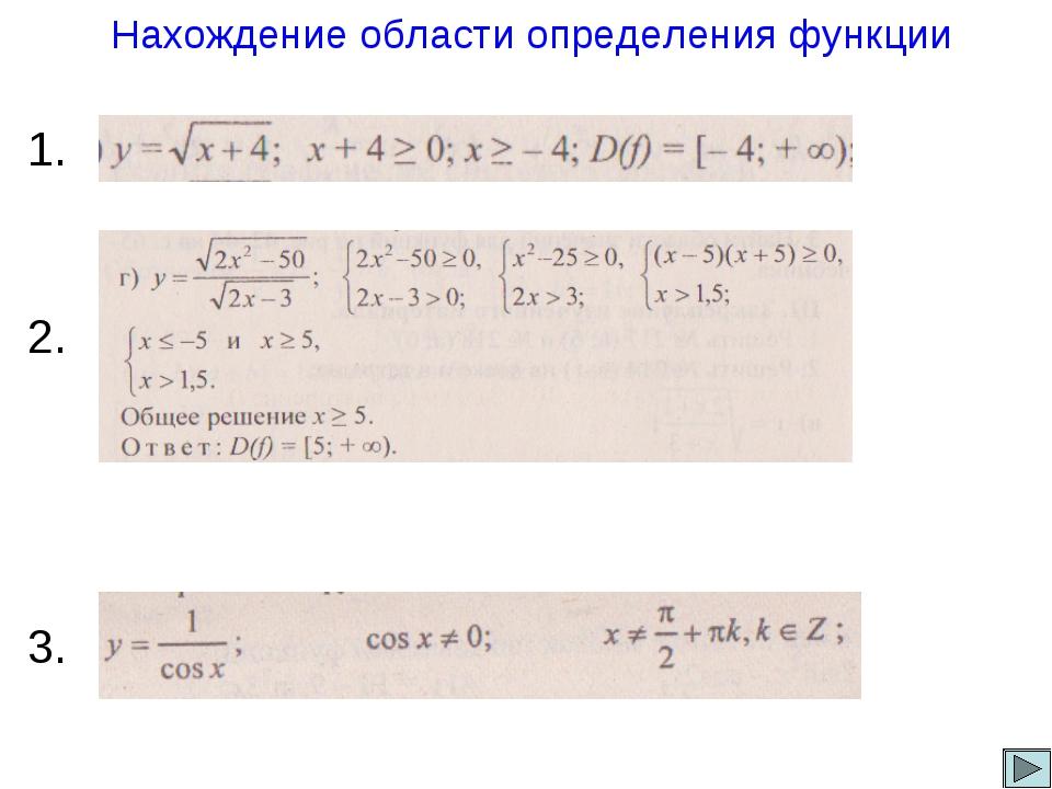 Нахождение области определения функции 1. 2. 3.
