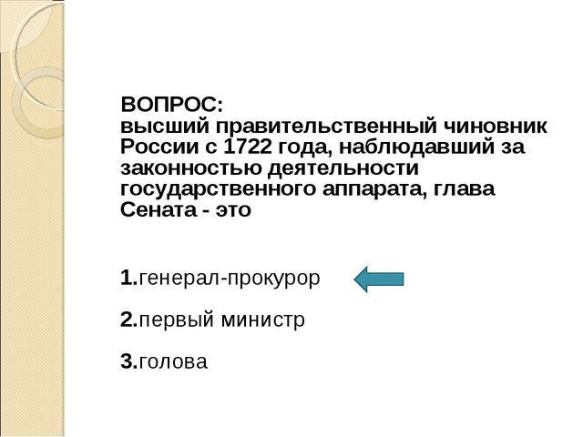 ВОПРОС: высший правительственный чиновник России с 1722 года, наблюдавший за...