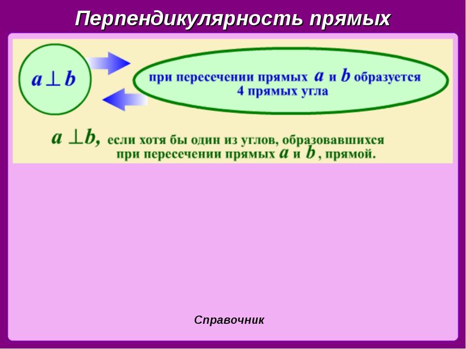Перпендикулярность прямых Справочник
