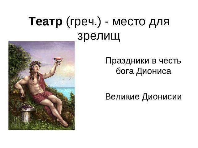 Театр (греч.) - место для зрелищ Праздники в честь бога Диониса Великие Диони...