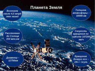 Планета Земля Толщина атмосферы – 10000 км Возникла около 4,5 млрд лет назад