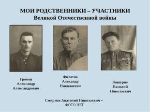 МОИ РОДСТВЕННИКИ – УЧАСТНИКИ Великой Отечественной войны Филатов Алекандр Ник