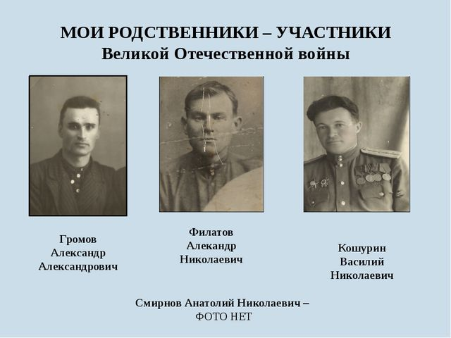 МОИ РОДСТВЕННИКИ – УЧАСТНИКИ Великой Отечественной войны Филатов Алекандр Ник...