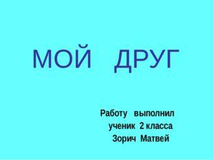 МОЙ ДРУГ Работу выполнил ученик 2 класса Зорич Матвей