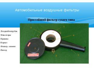 Простейший фильтр сухого типа 1 Входной патрубок 2 Фиксаторы 3 Крышка 4 Корпу