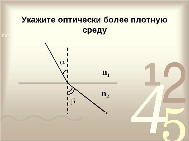 Укажите оптически более плотную среду n1 n2  