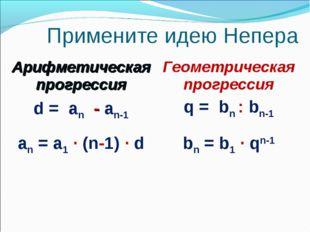 Примените идею Непера Арифметическая прогрессияГеометрическая прогрессия d =