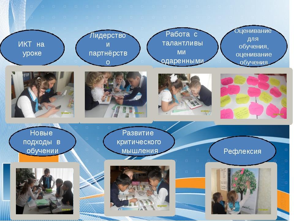 ИКТ на уроке Лидерство и партнёрство Работа с талантливыми одаренными Новые п...