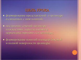 ЦЕЛЬ УРОКА формирование представлений о цилиндре и связанных с ним понятий; п