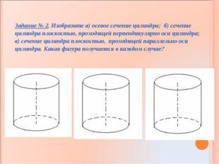 Задание № 2. Изобразите а) осевое сечение цилиндра; б) сечение цилиндра плоск