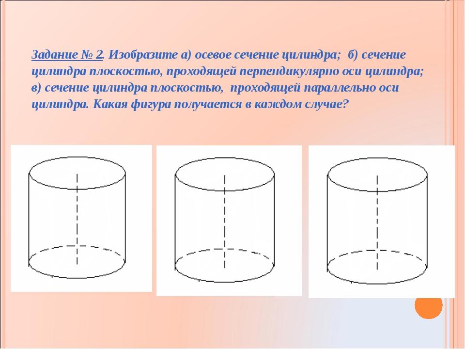 Задание № 2. Изобразите а) осевое сечение цилиндра; б) сечение цилиндра плоск...