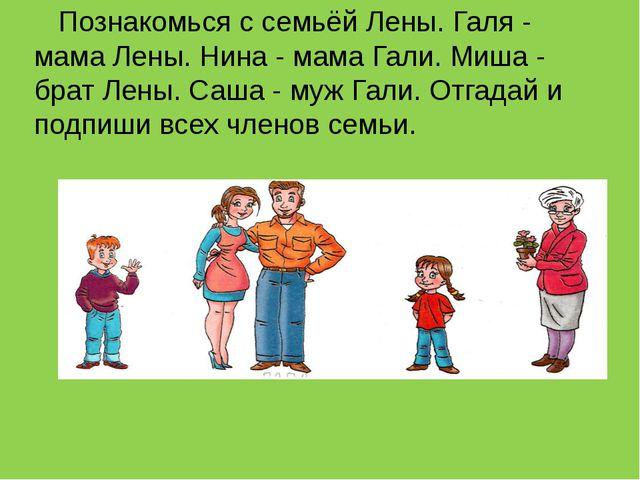 Познакомься с семьёй Лены. Галя - мама Лены. Нина - мама Гали. Миша - брат Л...