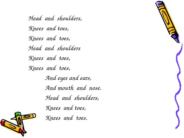 Head and shoulders, Knees and toes, Knees and toes, Head and shoulders Knees...