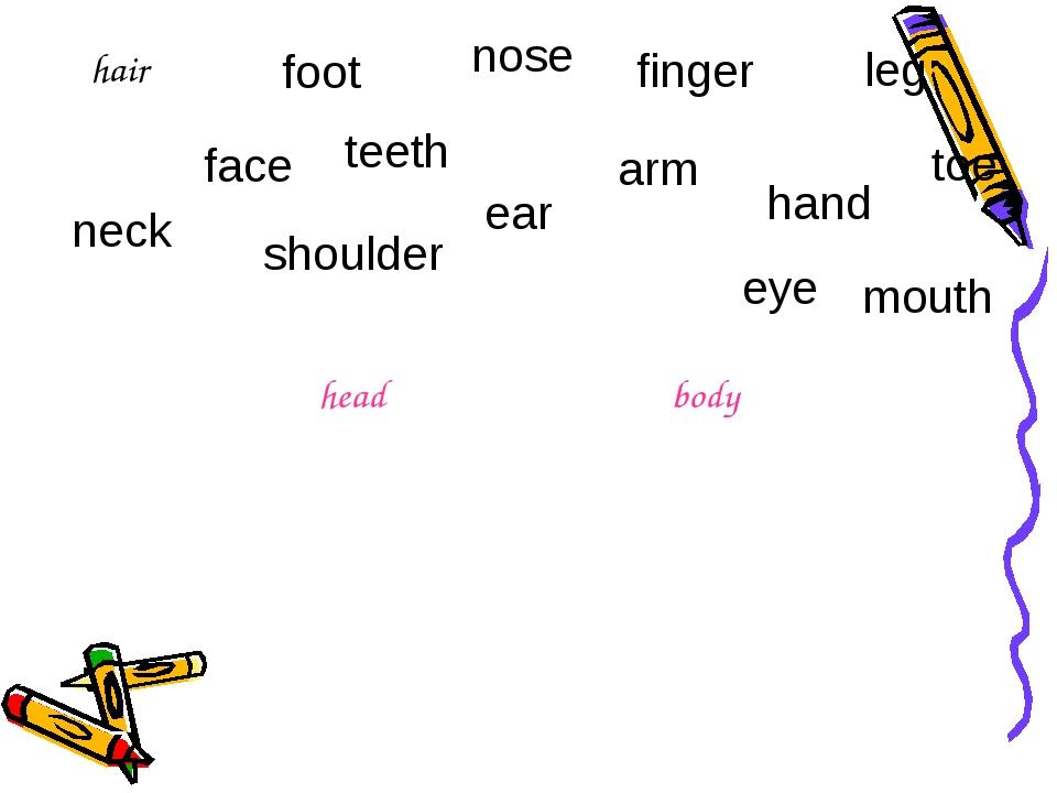 hair nose finger leg toe ear shoulder neck face teeth foot mouth arm eye hand...