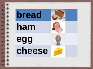 bread ham egg cheese