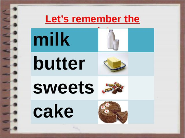 Let's remember the words! milk butter sweets cake