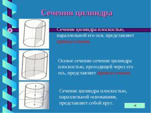 Сечения цилиндра Сечение цилиндра плоскостью, параллельной его оси, представл