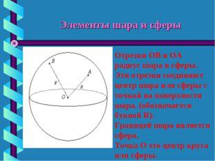 Элементы шара и сферы Отрезки ОВ и ОА радиус шара и сферы. Эти отрезки соедин