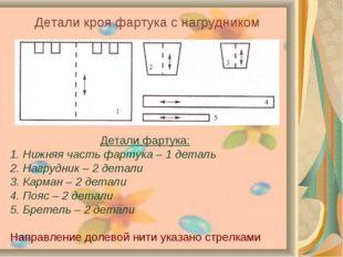 Детали кроя фартука с нагрудником Детали фартука: 1. Нижняя часть фартука – 1
