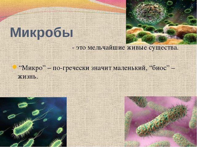 """Микробы - это мельчайшие живые существа. """"Микро"""" – по-гречески значит маленьк..."""