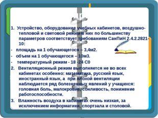 Выводы и предложения 1. Устройство, оборудование учебных кабинетов, воздушно