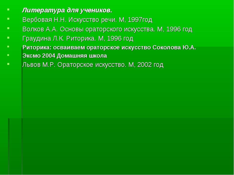 Литература для учеников. Вербовая Н.Н. Искусство речи. М, 1997год Волков А.А....