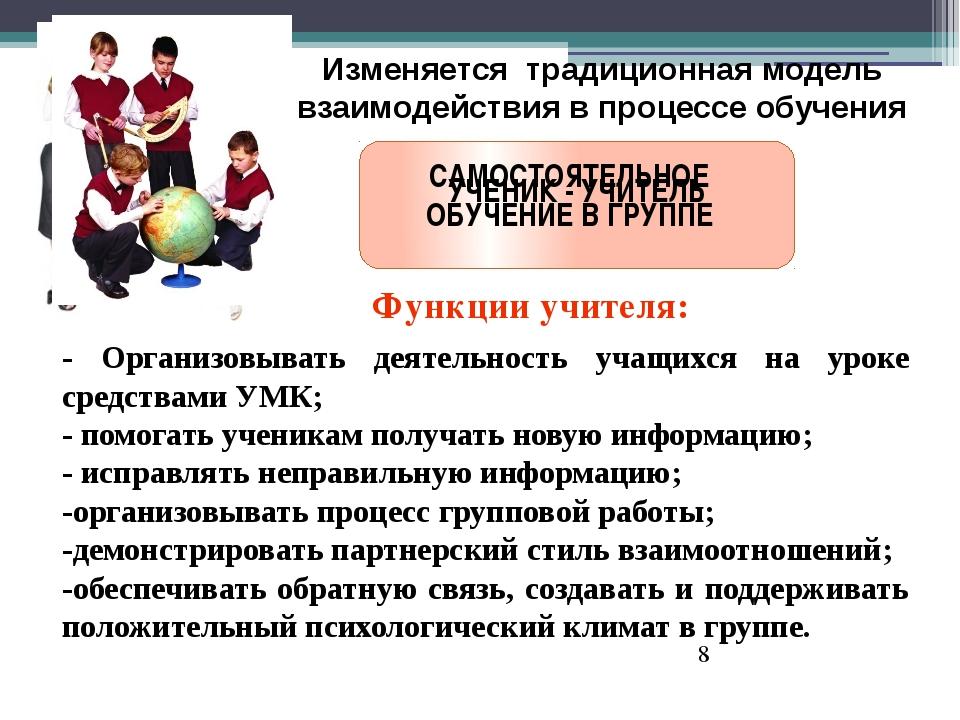 Изменяется традиционная модель взаимодействия в процессе обучения УЧЕНИК - У...