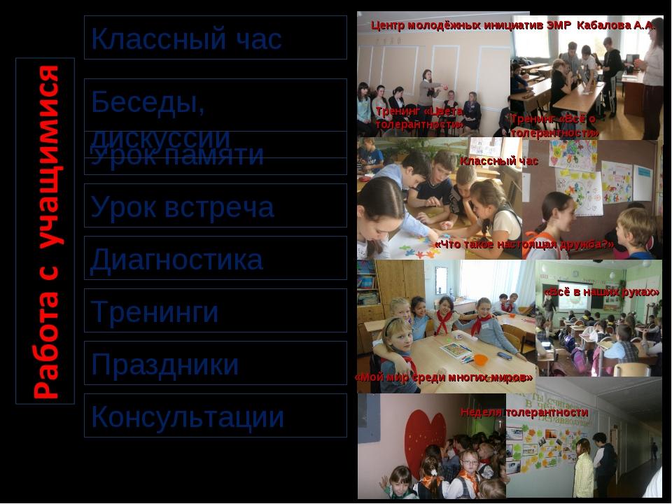 Диагностика Урок встреча Урок памяти Классный час Беседы, дискуссии Праздники...